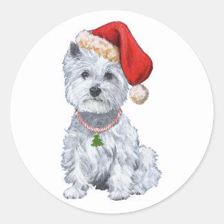 West Highland White Terrier Santa Claus Classic Round Sticker