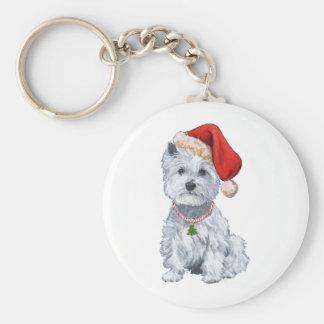 West Highland White Terrier Santa Claus Basic Round Button Keychain