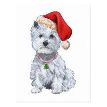 West Highland White Terrier Santa Claus Postcards