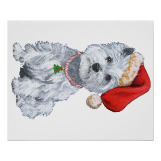 West Highland White Terrier Santa Claus Poster