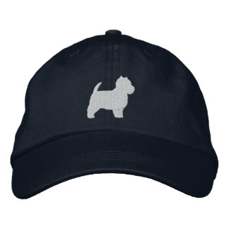West Highland White Terrier Silhouette Embroidered Baseball Cap
