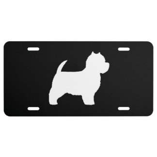 West Highland White Terrier Silhouette License Plate
