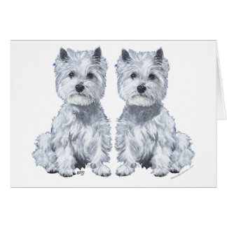 West Highland White Terrier Sitting Twins! Greeting Card