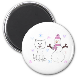 West Highland White Terrier & Snowman 2 Inch Round Magnet