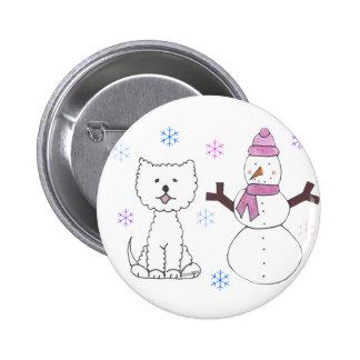 West Highland White Terrier & Snowman Button