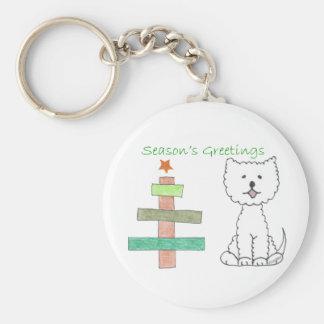 West Highland White Terrier Stick Tree Basic Round Button Keychain