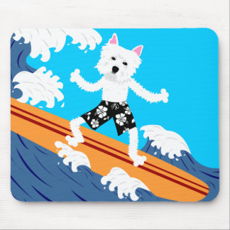 West Highland White Terrier Surfer Mouse Pad