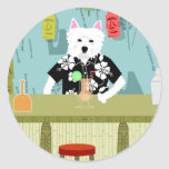 West Highland White Terrier Tiki Bar Classic Round Sticker