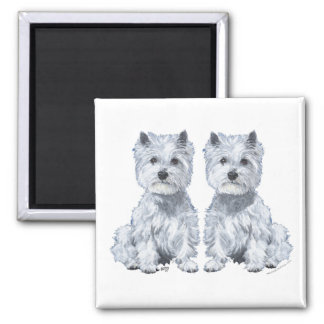 West Highland White Terrier Twins Refrigerator Magnets