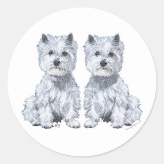 West Highland White Terrier Twins! Classic Round Sticker
