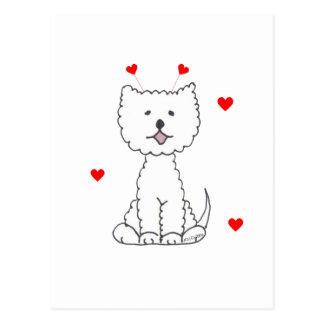 West Highland White Terrier Valentine Ears Postcard