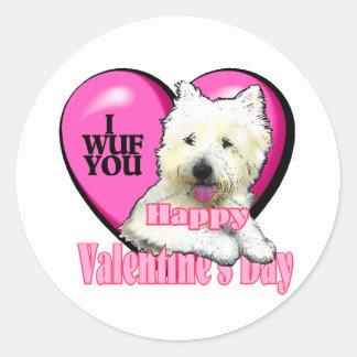 West Highland White Terrier Valentines Classic Round Sticker