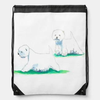 West Highland White Terrier Westie Conformation Drawstring Bag