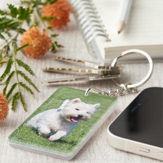 West Highland White Terrier, Westie dog cute photo Keychain
