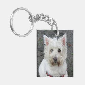 West Highland White Terrier, westie dog photo Keychain