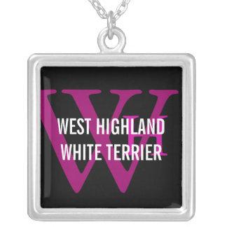West Highland White Terrier/Westie Monogram Square Pendant Necklace