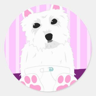 West Highland White Terrier Westie Puppy Classic Round Sticker