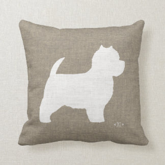 West Highland White Terrier Westie Silhouette Throw Pillow