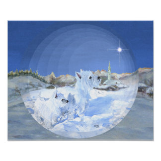 West Highland White Terrier Winter Night Poster