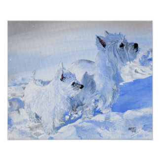 West Highland White Terriers in the Snow Posters