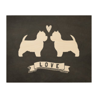 West Highland White Terriers Love Wood Wall Art