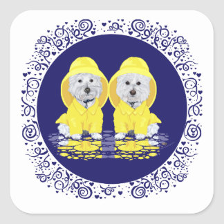 West Highland White Terriers Rain Square Sticker