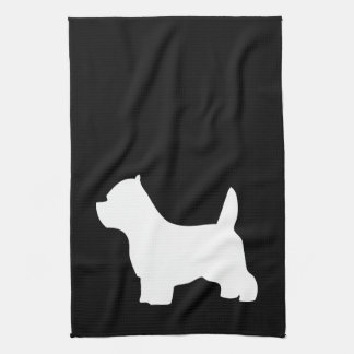 West Highland White Terriers, westie silhouette Kitchen Towels