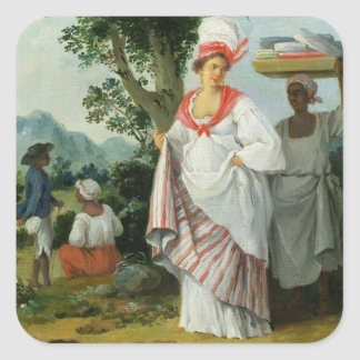 West Indian Creole Woman with her Black Servant, c Square Sticker