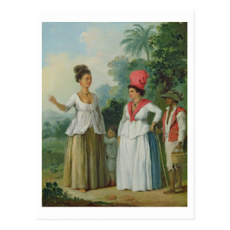 West Indian Women of Colour, with a Child and Blac Postcard
