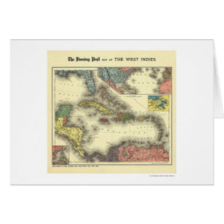 West Indies Evening Post Map 1898 Greeting Card