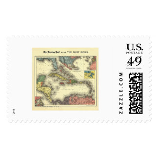 West Indies Evening Post Map 1898 Postage Stamps