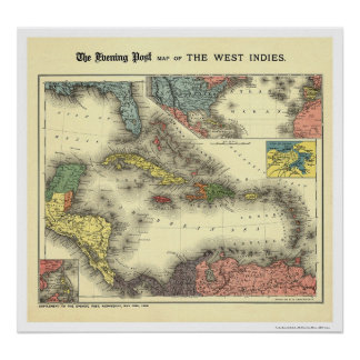 West Indies Evening Post Map 1898 Poster