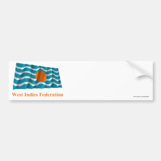 West Indies Federation Waving Flag with Name Bumper Stickers