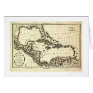 West Indies & Gulf of Mexico Map 1806 Greeting Card