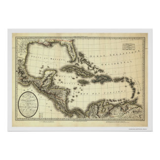 West Indies & Gulf of Mexico Map 1806 Poster