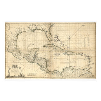 West Indies Map by T. Bowen & J. Speer (1774) Stationery