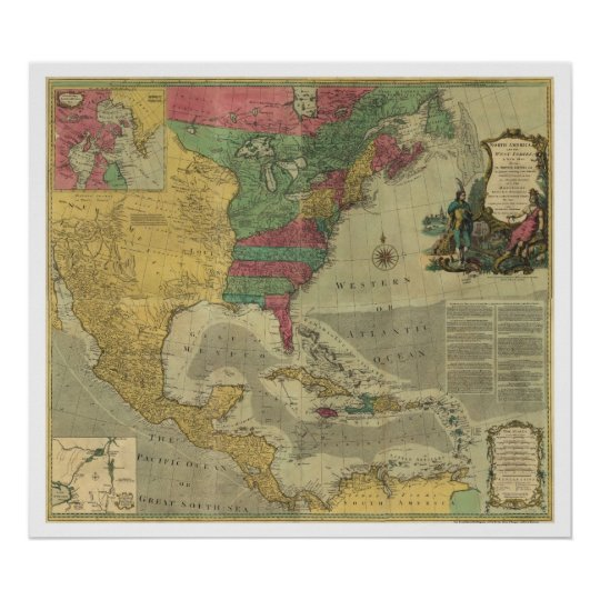West Indies & North America Map - 1774 Poster | Zazzle.com