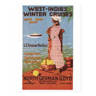 West Indies Winter Cruises North German LLoyd Post Card