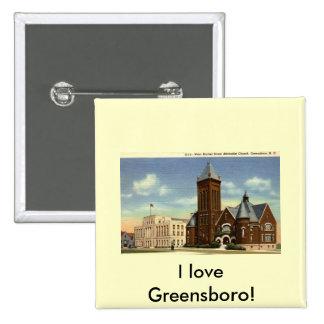 West Market Street, Greensboro NC Vintage Pinback Button