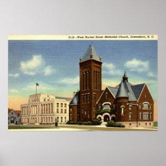 West Market Street, Greensboro NC Vintage print