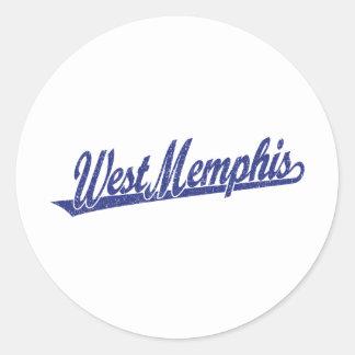West Memphis script logo in blue distressed Stickers