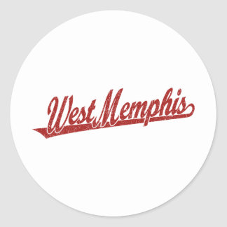 West Memphis script logo in red distressed Stickers