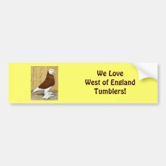 West of England Tumbler Red Baldhead Bumper Sticker