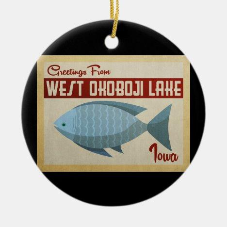 West Okoboji Lake Fish Vintage Travel Ceramic Ornament