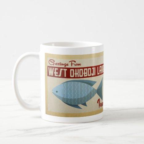 West Okoboji Lake Fish Vintage Travel Coffee Mug