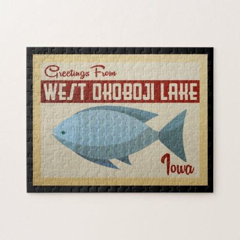 West Okoboji Lake Fish Vintage Travel Jigsaw Puzzle