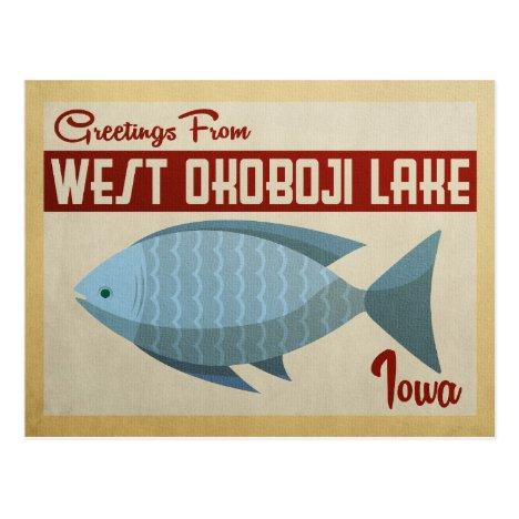 West Okoboji Lake Fish Vintage Travel Postcard