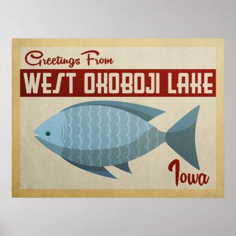 West Okoboji Lake Fish Vintage Travel Poster