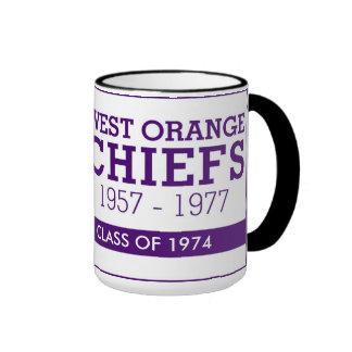 WEST ORANGE CHIEFS 15 OUNCE COFFEE MUG 1974 RINGER MUG