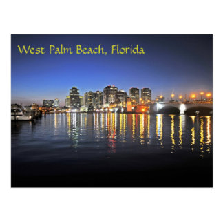 West Palm Beach at dusk Postcard